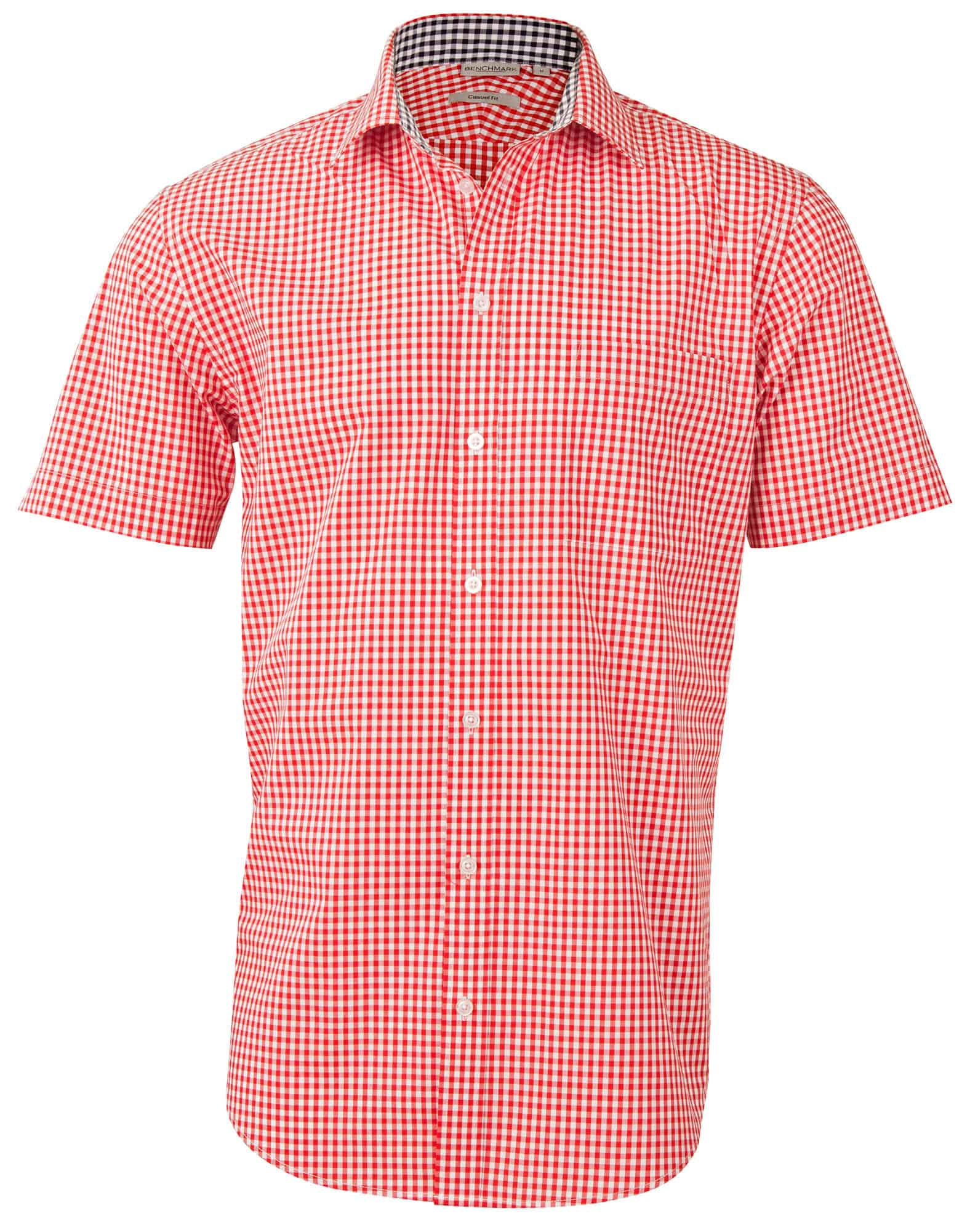 Men s Gingham Check Short Sleeve Shirt Publicity Promotional Products